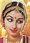 Elaborate make-up of a classical dancer