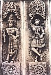 In some Hoysala temples the brackets are carved from a single slab into images