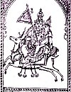 Vayu takes his wife for ride on a galloping deer.