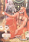 Raghavendra Swamiji Offering Prayers to a Linga