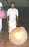 A <b>Dhamsa</b> is a drum played with sticks during the Chhau Performance