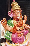 Painted Clay Idol of Lord Ganesh during Ganesh Chaturthi