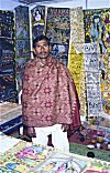 Bengali Artist with his Paintings