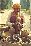 A street side snake charmer dances his cobra