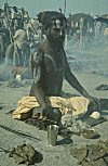 An ascetic (Sadhu) performing rituals
