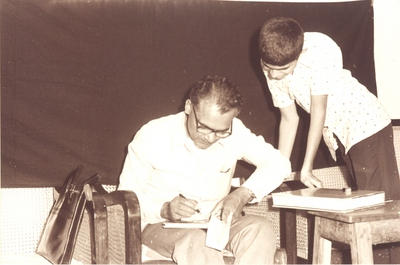 Vikas (on right) Collecting an Autograph from S.L. Bhyrappa