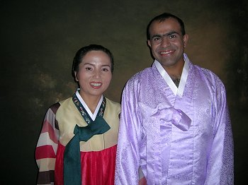 Kim and Vikas in Hanbok